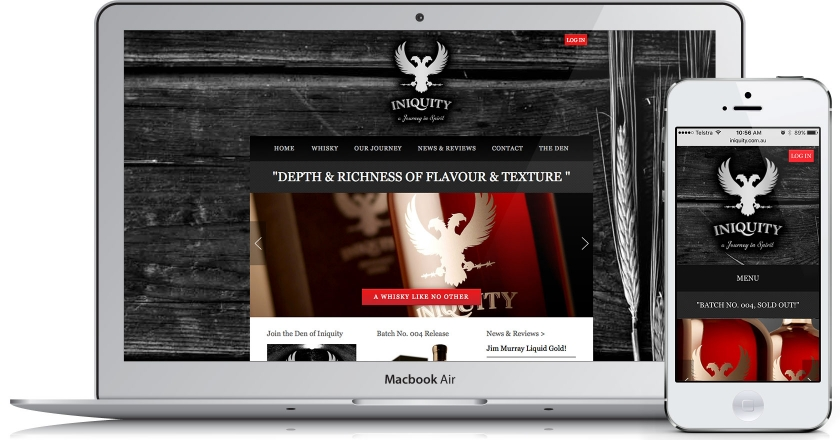 Iniquity Website - Home Page on Desktop & Mobile.