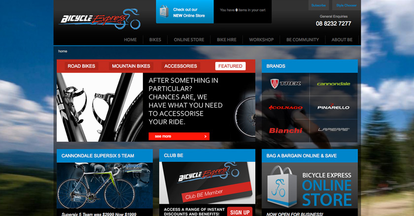 Bicycle Express Website - Home Page