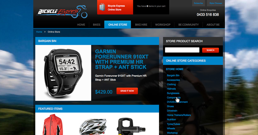 Bicycle Express Website - Online Store Landing Page