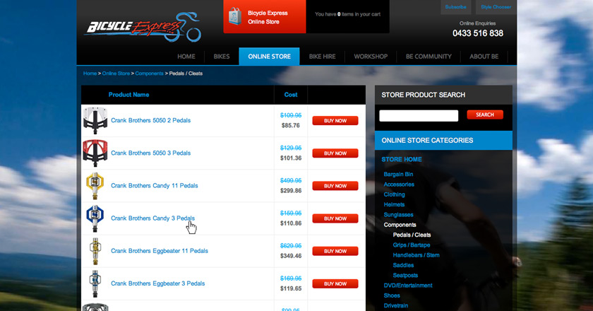 Bicycle Express Website - Online Store > Components Page