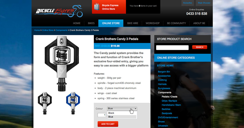 Bicycle Express Website - Product Detail > Add To Cart Function