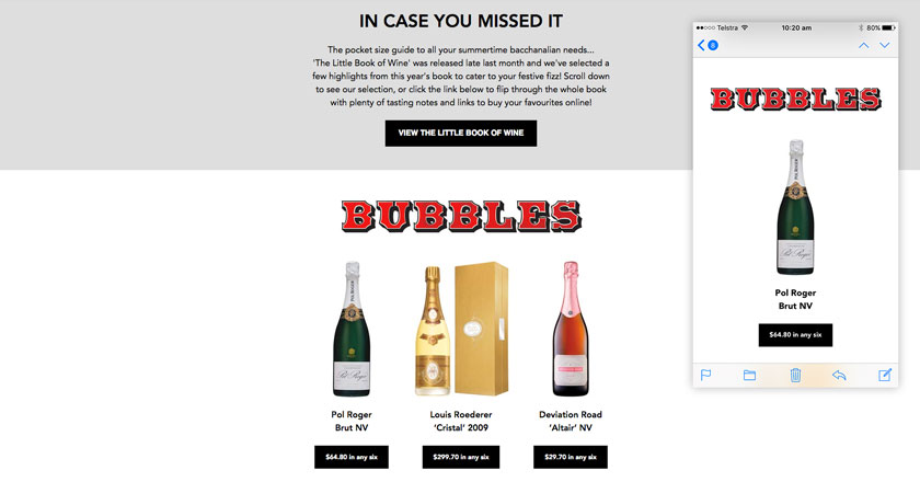 East End Cellars Email Marketing - Promote Products and Links to Purchase Wine Online
