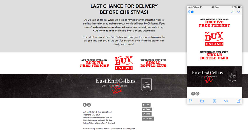 East End Cellars Email Marketing - Engaging Email Footer with Links to Permanent Offers and Social Media