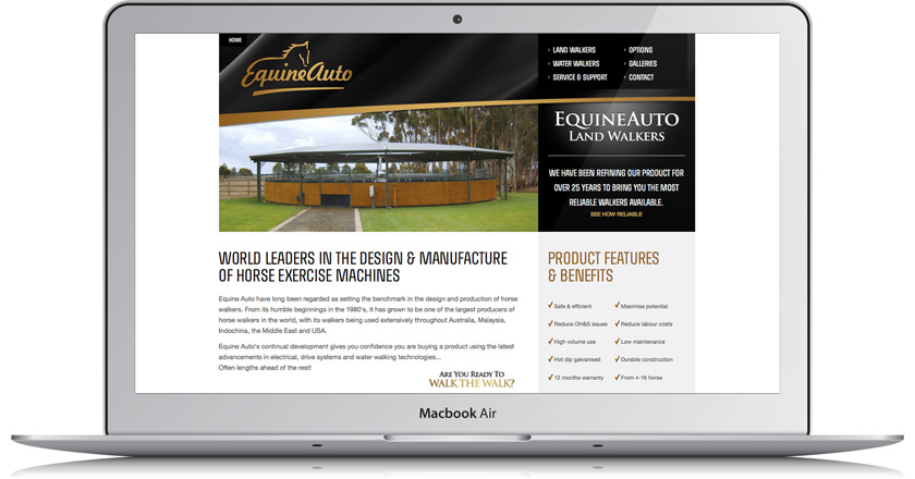Equine Auto Website - Home Page