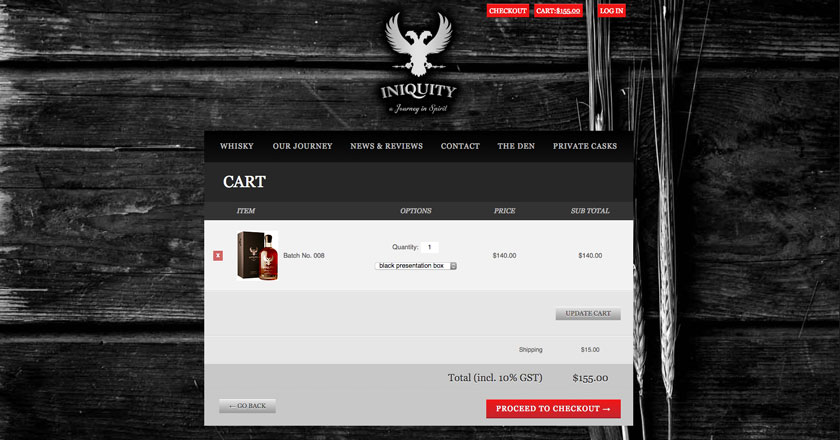 Iniquity Website - Cart Page with Packaging Options.