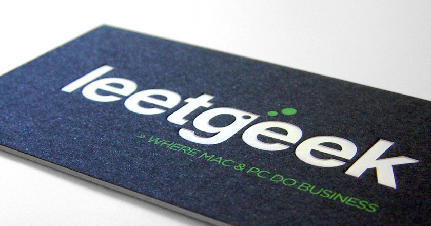 LeetGeek Business Cards, Clear Gloss Foil and Deboss
