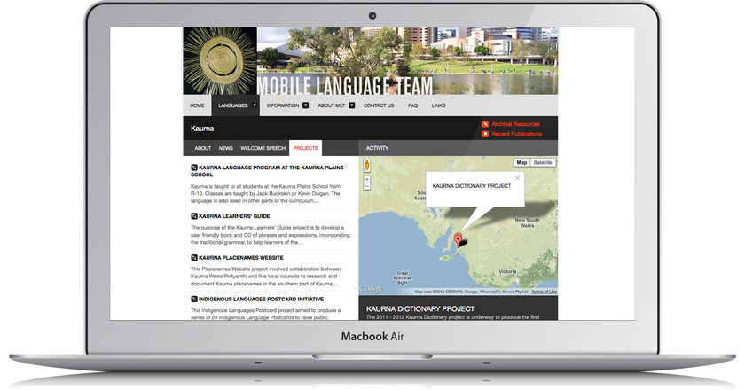 Mobile Language Team Website - Kaurna Language Page