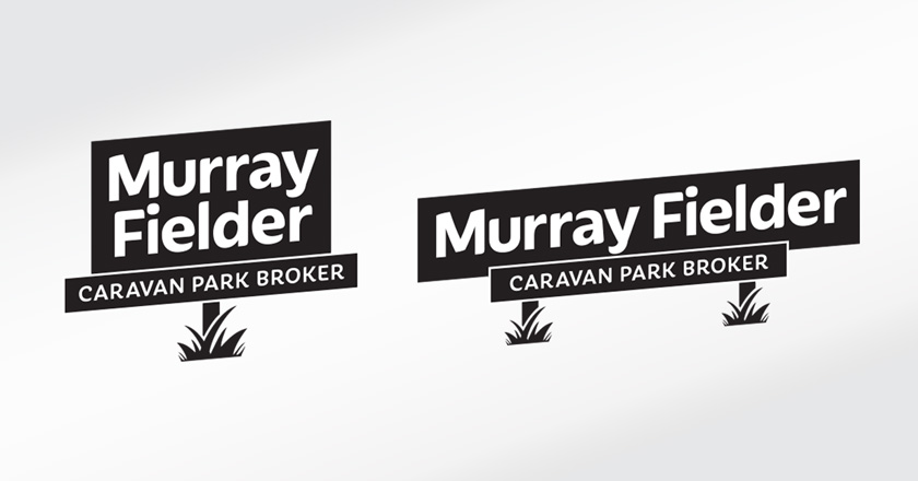 Murray Fielder Caravan Park Broker Company Logotype - Black & White variations