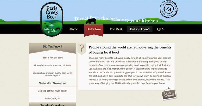 Paris Creek Beef Website - Did you know? Page