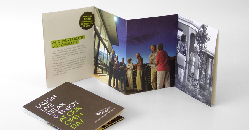 The Heights Retirement Village, A6 Folding Brochure Concertina Folded for Display