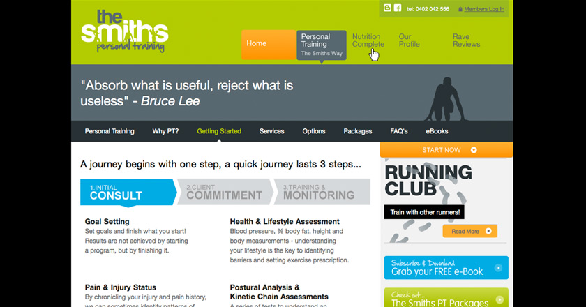 The Smiths Personal Training Website - Getting Started, Multi-step Page