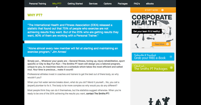 The Smiths Personal Training Website - Why PT? Page