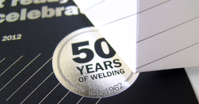 Welding Industries of Australia, 50th Anniversary Foiling & Folding Detail