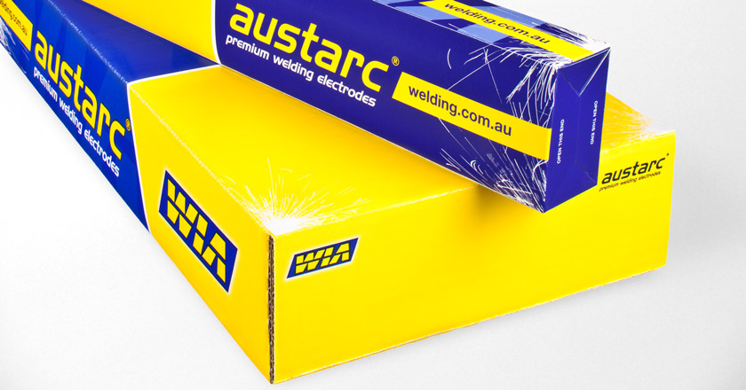 WIA Austarc Welding Electrodes Packaging, Inner Packet on Outer Carton, Closeup.