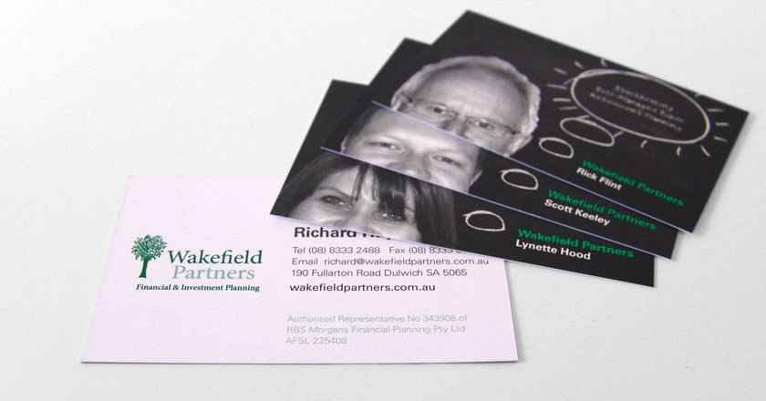 Wakefield Partners Business Cards, Unique Photo & Focus for each Staff Member