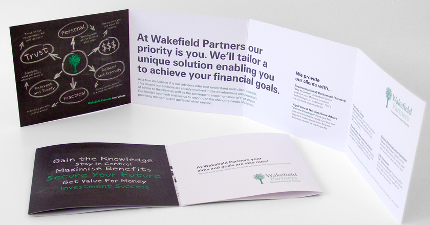 Wakefield Partners, Folding Brochure Gate Folded for Presentation of Summary & Detailed Info