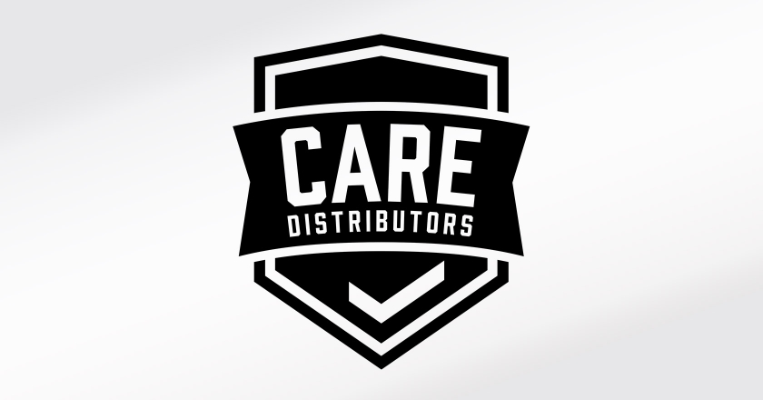 CARE Distributors Company Logotype - Main Logo in B&W for embroidery and other simplified production applications