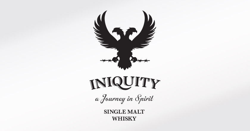 Iniquity Single Malt Whisky Branding - Compete Logotype, Tagline, and Product Description as seen on Packaging