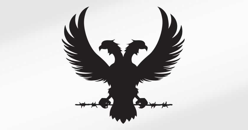 Iniquity Single Malt Whisky Branding - The Double Headed Phoenix on Barbed Wire, Hand Crafted Vector Illustration