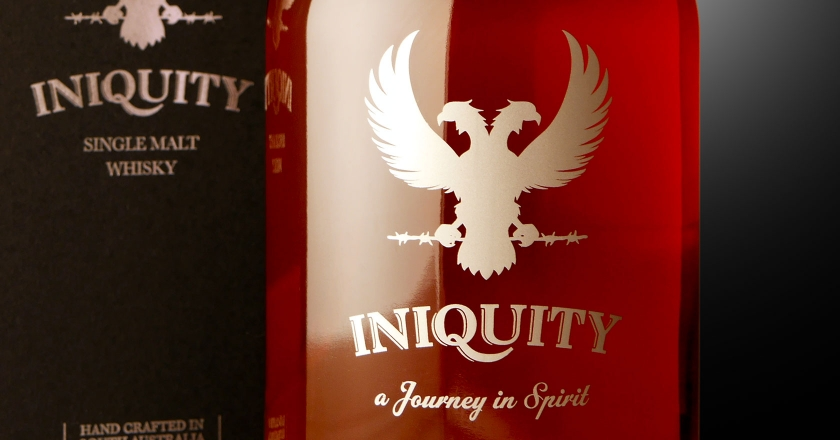 Iniquity Single Malt Whisky Branding - As it appears in the Iniquity Packaging