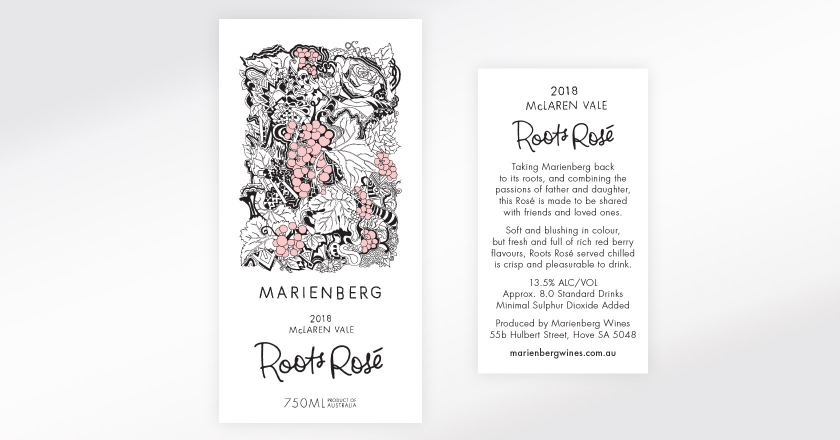 Marienberg Wines Rosé Labelling - 2016 McLaren Vale Roots Rosé Front & Back Label Artwork