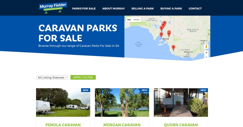 Murray Fielder Caravan Park Broker Website - Property Listings