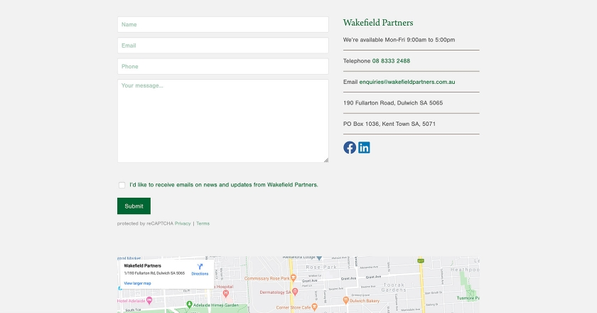 Wakefield Partners - Contact Page