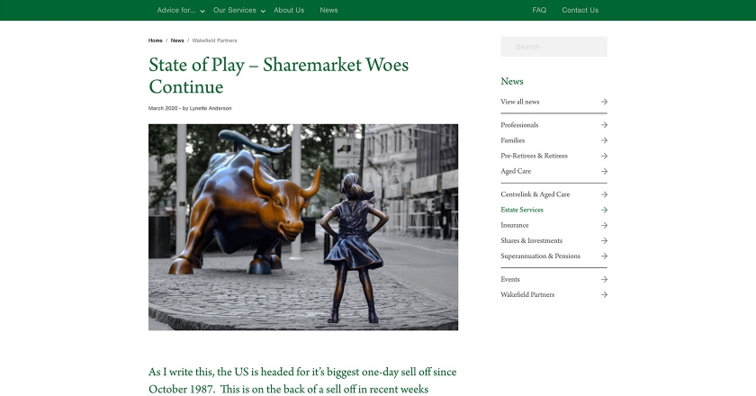 Wakefield Partners - State of Play – Sharemarket Woes Continue News Page