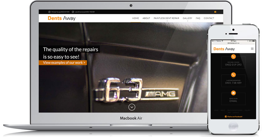 Dents Away Website - Home Page