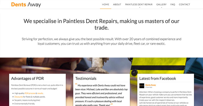 Dents Away Website - Bottom Half of Home Page with Parallax Image, Features & Facebook Feed