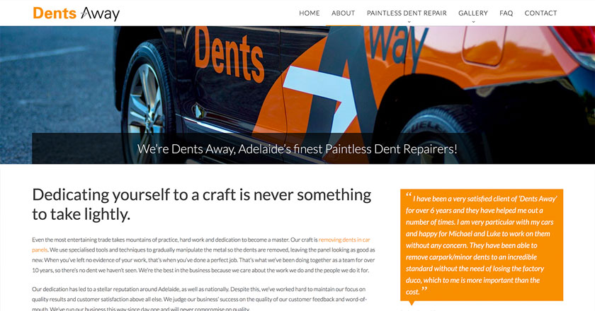 Dents Away Website - About Page with Random Testimonials Feed