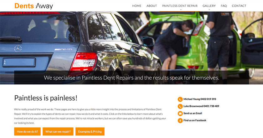 Dents Away Website - Paintless Dent Repairs Explained with plenty of Enquiry Options