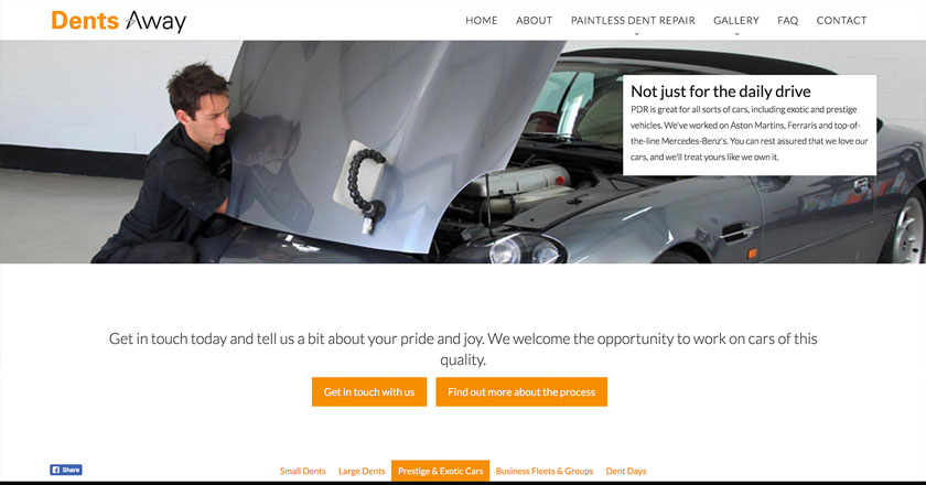 Dents Away Website - No shortage of Calls To Action