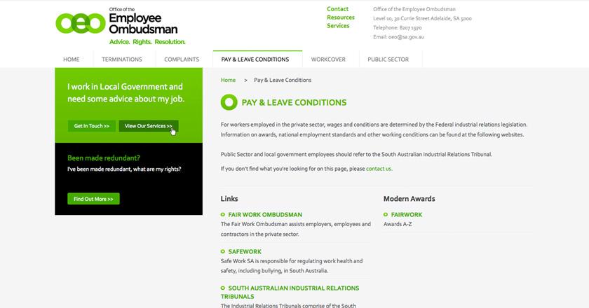Office of the Employee Ombudsman Website - Pay & Leave Conditions Page