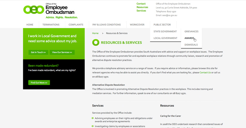 Office of the Employee Ombudsman Website - Resources & Services Page + Navigation Detail