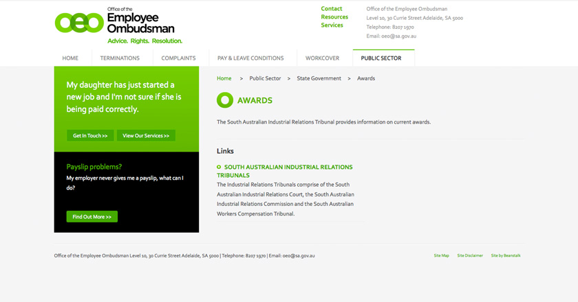 Office of the Employee Ombudsman Website - State Government > Awards Page