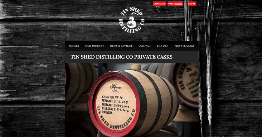 Iniquity Website - Tin Shed Distilling Co. Private Casks Offer Page with Registration of Interest Process.