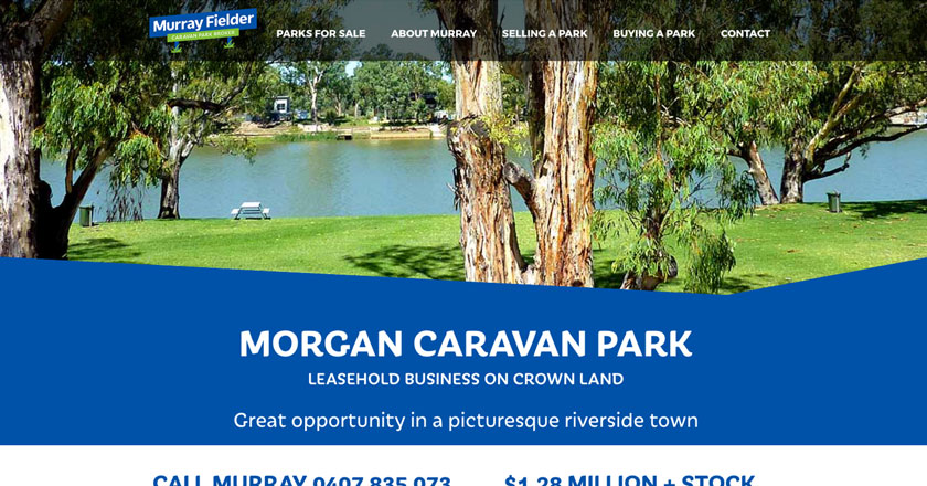 Murray Fielder Caravan Park Broker Website - Property Details Page with Attractive Imagery