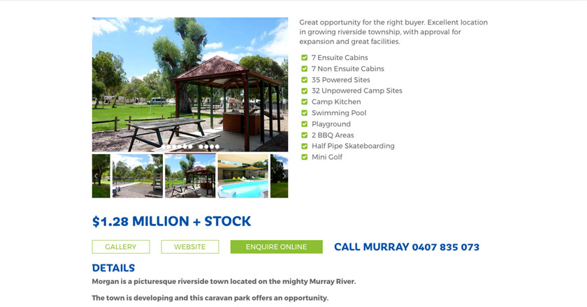 Murray Fielder Caravan Park Broker Website - Property Details Page with Gallery, Document Downloads, Enquiry Form