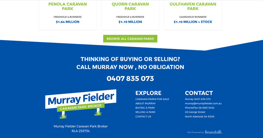Murray Fielder Caravan Park Broker Website - Property Details Page with Call to Action and Footer