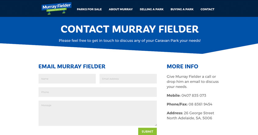 Murray Fielder Caravan Park Broker Website - Contact Page and Enquiry Form
