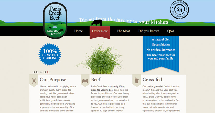Paris Creek Beef Website - Home Page