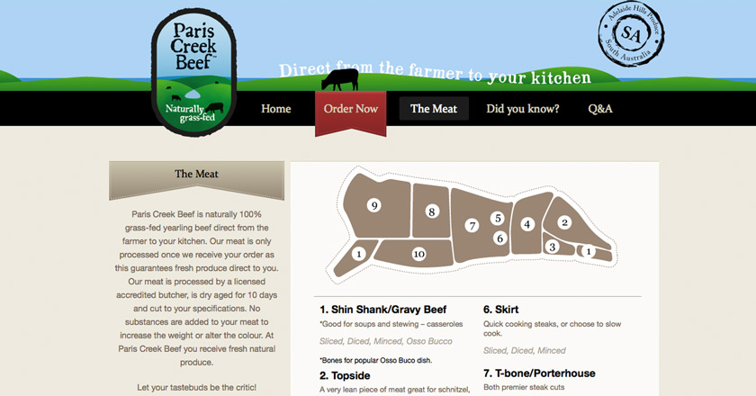 Paris Creek Beef Website - The Meat Page