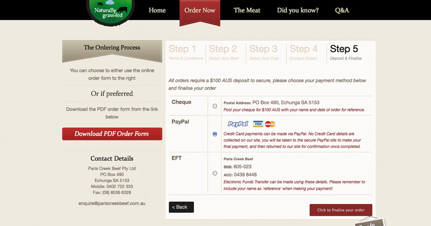 Paris Creek Beef Website - Order Page > Confirmation
