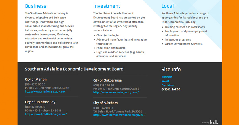 Southern Adelaide EDB Website - Home Page Footer
