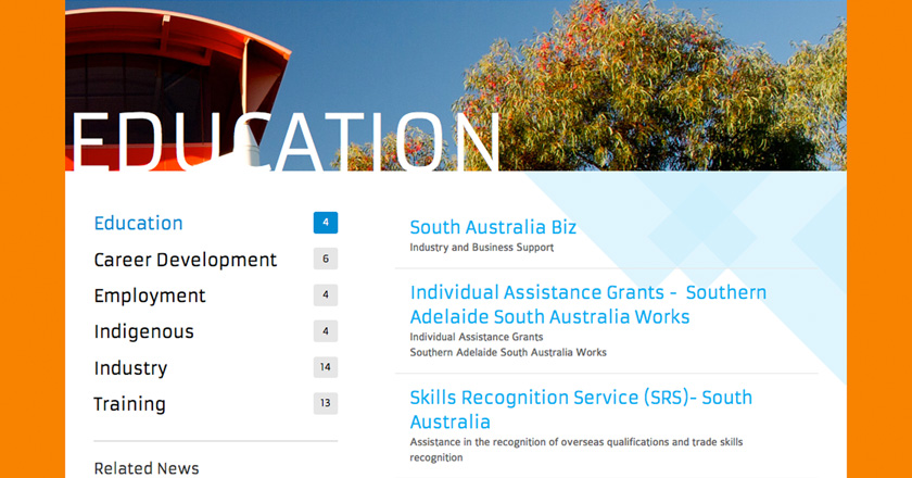 Southern Adelaide EDB Website - Pathways > Education Page