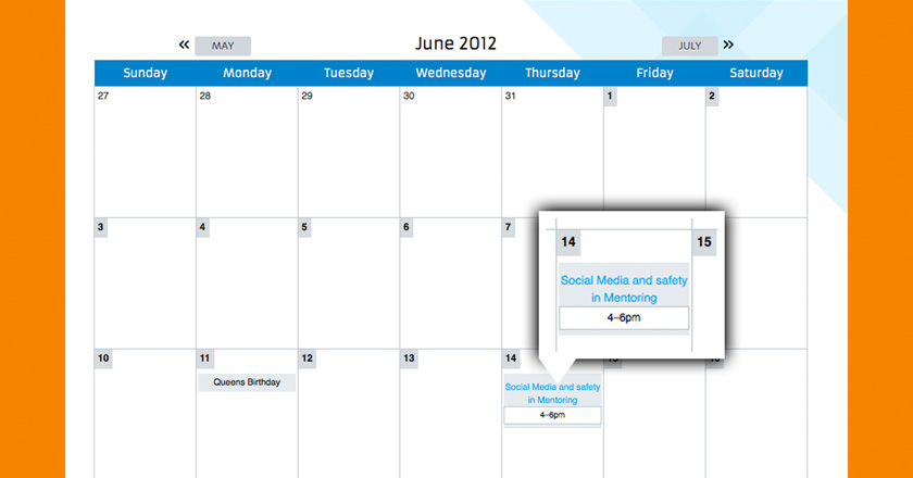 Southern Adelaide EDB Website - Events Calendar Page