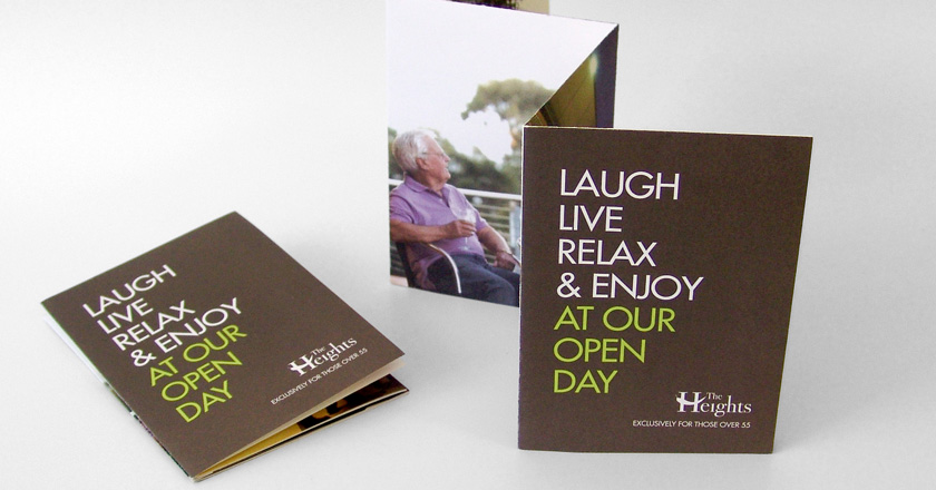 The Heights Retirement Village, A6 Folding Brochure Design & Print