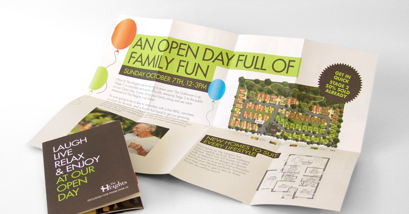 The Heights Retirement Village, A6 Folding Brochure Opens to Display Poster