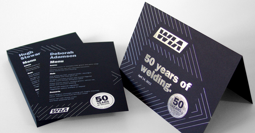 Welding Industries of Australia, 50th Anniversary Personalised Menu and Photo Holder